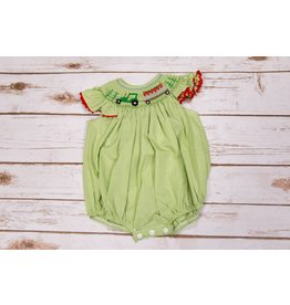 Mom & Me Green Tractor Smocked Bubble Romper