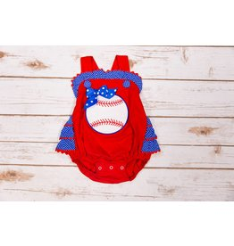 Three Sisters Baseball Applique Ruffle Bubble