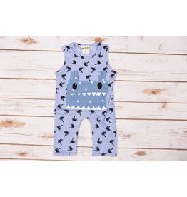 Peas and Queues Blue Mui Pocket Romper
