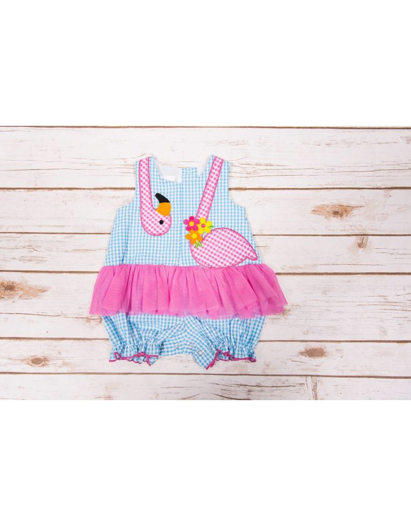 f47d33648 Blue and Pink Seersucker Bubble Romper with Flamingo - Peek-a-Bootique