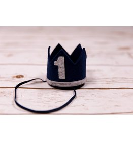 Sweet Wink Navy Blue and Gray #1 Birthday Crown