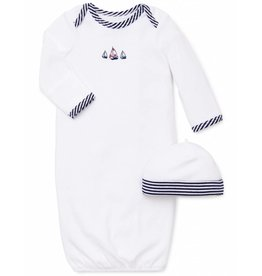 Little Me White Sailboat Long Sleeve Gown 0/3M