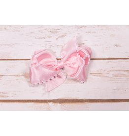 Wee Ones Small Pink Satin With White Pom Pom Trip Bow