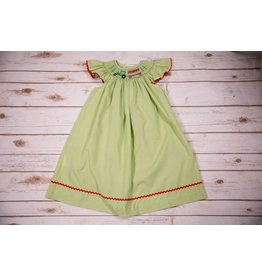 Mom & Me Green Tractor Smocked Dress