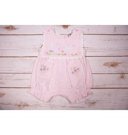 Cotton Kids Seersucker Bunny Collar Romper