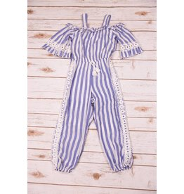 Truly Me Blue/White Striped Jumpsuit