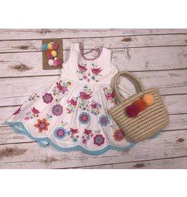Cotton Kids White Bird Embroidered Folk Dress