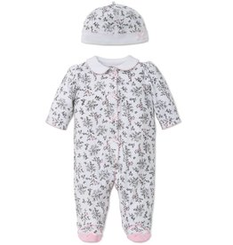 Little Me Bird Toile Button Up Footie and Cap
