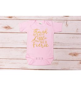 "Laughing Giraffe ""She May Be Little"" Pink Onesie 0-3"