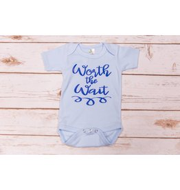 "Laughing Giraffe ""Worth The Wait"" Blue Onesie 0-3M"