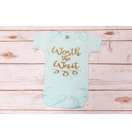 "Laughing Giraffe ""Worth The Wait"" Mint Onesie 0-3M"