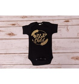 "Laughing Giraffe Gold Glitter ""Wild Child"" Black Onesie 0-3M"