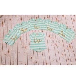 Jujubee Bowtique Aqua Striped Birthday Shirt