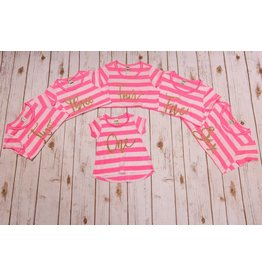 Jujubee Bowtique Neon Pink Striped Birthday Shirt
