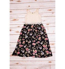 Truly Me Ivory/Black Floral Romper Skirt