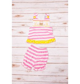 Three Sisters Lemonade Smocked Crossback Bloomer Set
