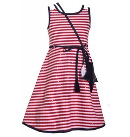 Bonnie Jean Red Striped Dress with Navy Sequins Star Bag