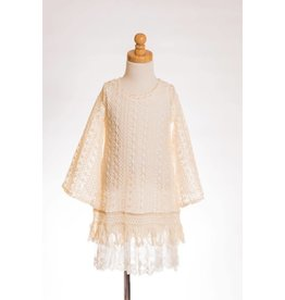 MLKids Lace Crochet Bell Sleeve Dress