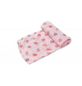Angel Dear Pink Strawberry Swaddle Blanket