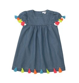 Mud Pie Denim Neon Tassel Dress