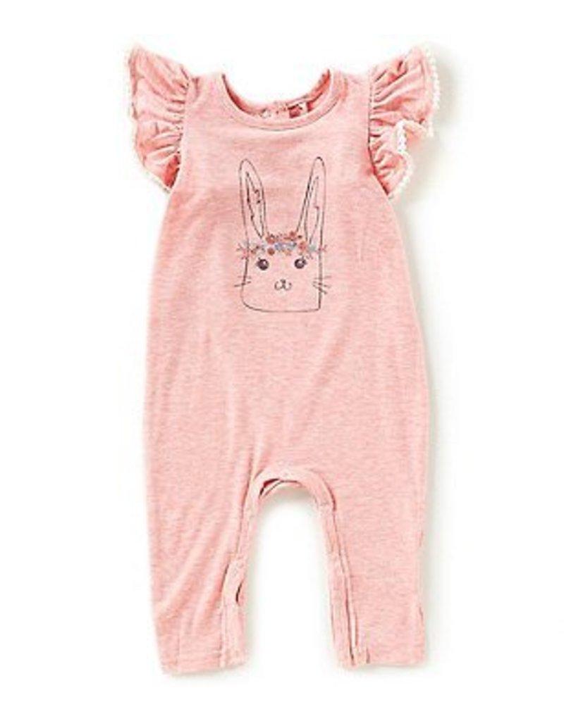 Jessica Simpson Baby Bunny Romper Pink Glitter Green Snaps