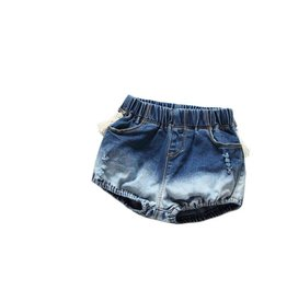 Denim Ombre and Fringe Shorts