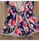 Navy Floral Lace Romper