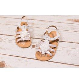 Petalia White Glitter Flower Sandals
