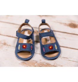Laura Ashley Floral Embroidered Denim Sandals