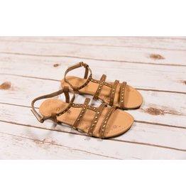 Petalia Brown Sandal with Gold Studs