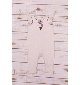 Jessica Simpson Baby Heather Oatmeal Embroidered Coverall