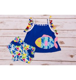 Rare Editions Rainbow Fish Tassel Short Set