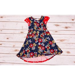 Pink Vanilla Navy/Red Floral Short Sleeve Dress