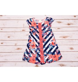 Pink Vanilla Navy/Coral Stripe Cap Sleeve Dress