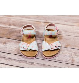 Rugged Bear Sparkle Floral Buckle Sandals