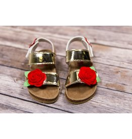 Rugged Bear Metallic Gold Sandals with Red Rose