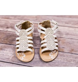 Laura Ashley White Boho Sandals with Silver Jewels