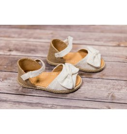Laura Ashley Burlap Wedge White Sandals with Bow