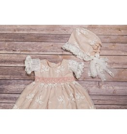 Haute Baby Blush White Lace Bonnet