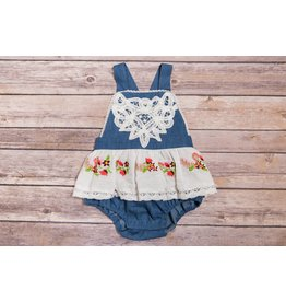 Mimi & Maggie Lace and Denim Coverall- Indigo