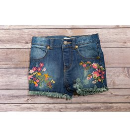Mimi & Maggie Embroidered Flower Shorts- Indigo