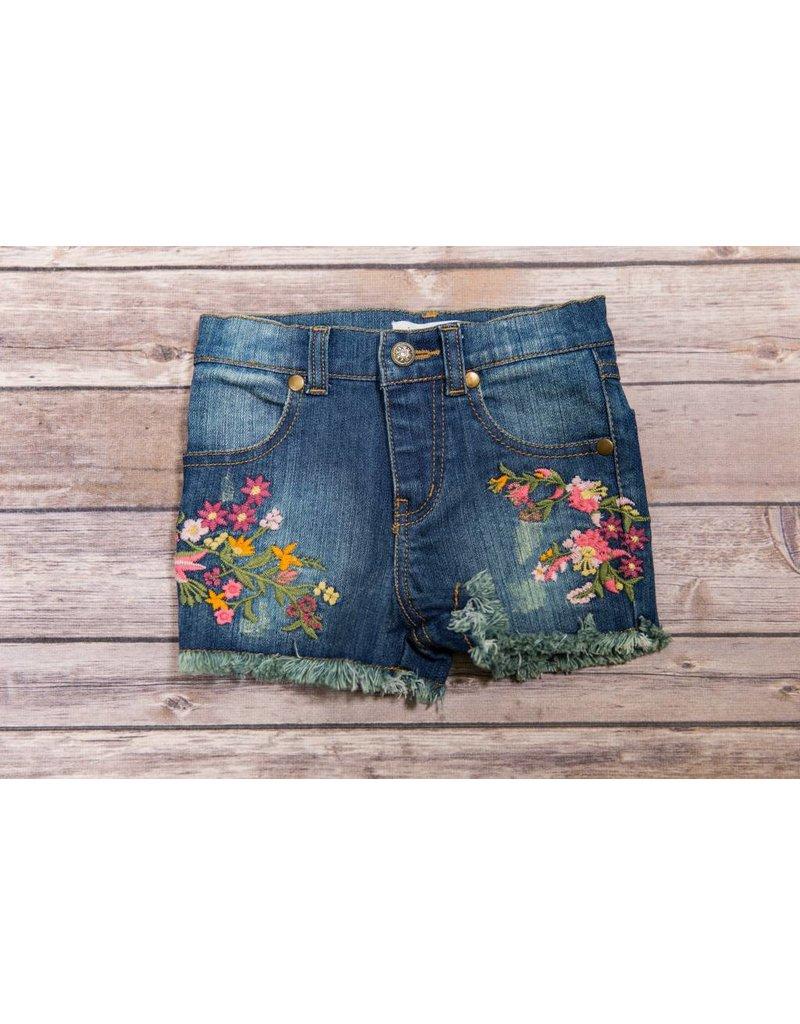 Mimi & Maggie Embroidered Flower Shorts, Indigo - Peek-a-Bootique