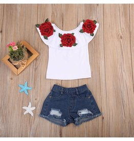 Red Rose Flounce Top and Jean Set