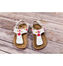 Rugged Bear White Sandals Small Flower Detail