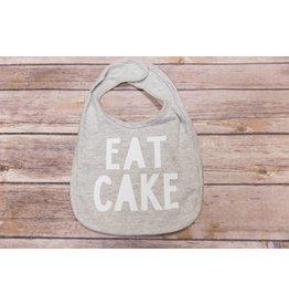 """Sweet Wink """"Eat Cake"""" Gray and White Birthday Bib"""