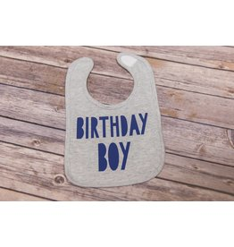 "Sweet Wink ""Birthday Boy"" Gray and Navy Birthday Bib"