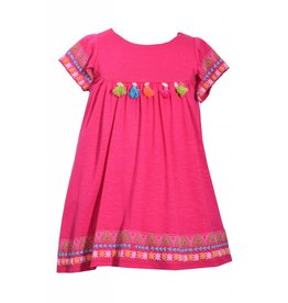 Bonnie Jean Hot Pink Boho Aztec Dress