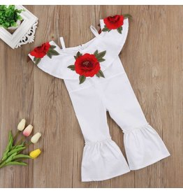 White Rose Cold Shoulder Jumpsuit