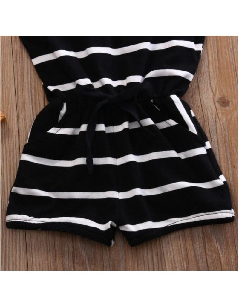 Black Striped Romper