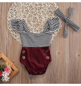 Maroon Black and White Stripe Romper & Headband